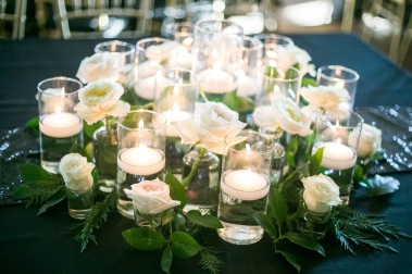 white roses and candles