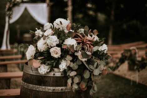 flowers and winebarrel