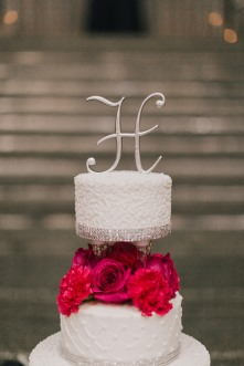 hot pink and white cake